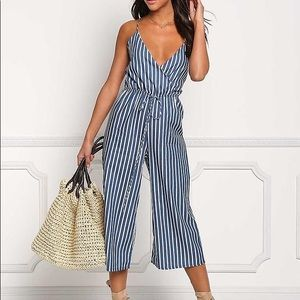 Blue and White Pin Stripe Crop Jumpsuit